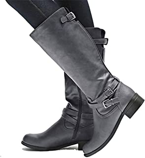 YOMISOY Womens Winter Boots Wide Calf Knee High Buckle Strappy Chunky Low Heel Riding Booties