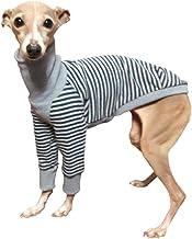 ボーダーロングスリーブシャツ #2 イタリアングレーハウンド服 イタグレ服 犬服 Tシャツ (ブラウン×ネイビー, L)