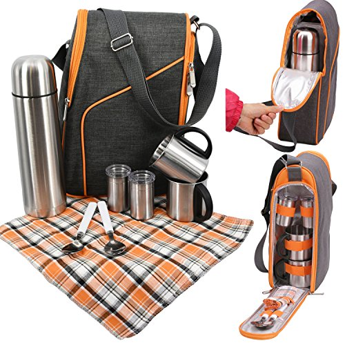 GEEZY Family Picnic Cool Bag Backpack Hamper Wine Cooler Coffee Bottle Holder Carrier (2 Person Thermal/Cooling Coffee Bag)