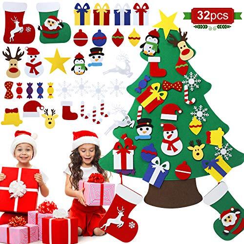 MojiDecor Filz Weihnachtsbaum Kinder, DIY Dekoration mit 32 Abnehmbaren Hängenden Ornamenten Weihnachtssocken, Home/Tür/Wand Winter Hängend Dekor 95cm