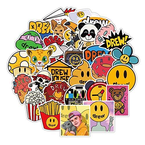 YUAHNG Pegatina Sonriente de Anime de Dibujos Animados, diseño pequeño Decorativo, Divertido Justin Bieber, Equipaje, Marca de Marea, Impermeable, 50 Uds.