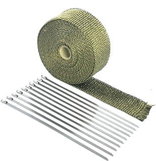 Ruilasago Hitzeschutzband Basaltfaser Hitzeschutz Auspuffband 5M mit Kabelbinder für Fächerkrümmer Thermoband Krümmerband Auto Motorrad Titan
