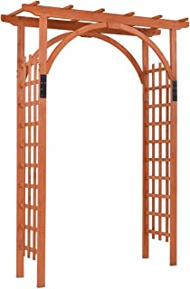 "GYMAX Wood Arch, 85"" Wood Arbor Arch Lattice Trellis Pergola for Climbing Plants Wedding"