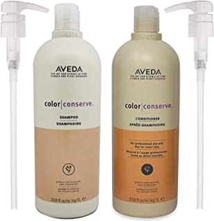 Aveda Color Conserve Shampoo and Conditioner 33.8oz Helps Protect Hair Color and Prevents Fading With Pumps