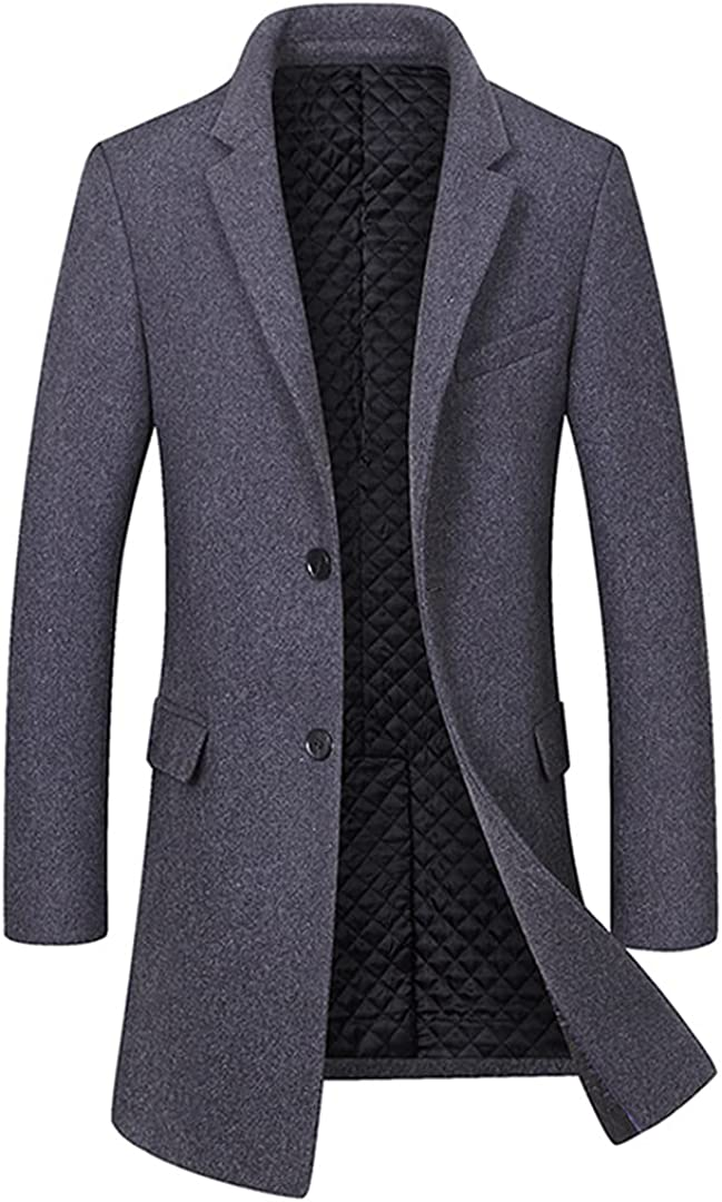 Winter Long Wool Coat Men Thick Woolen Trench Coat Windbreaker Outerwear Warm Overcoat