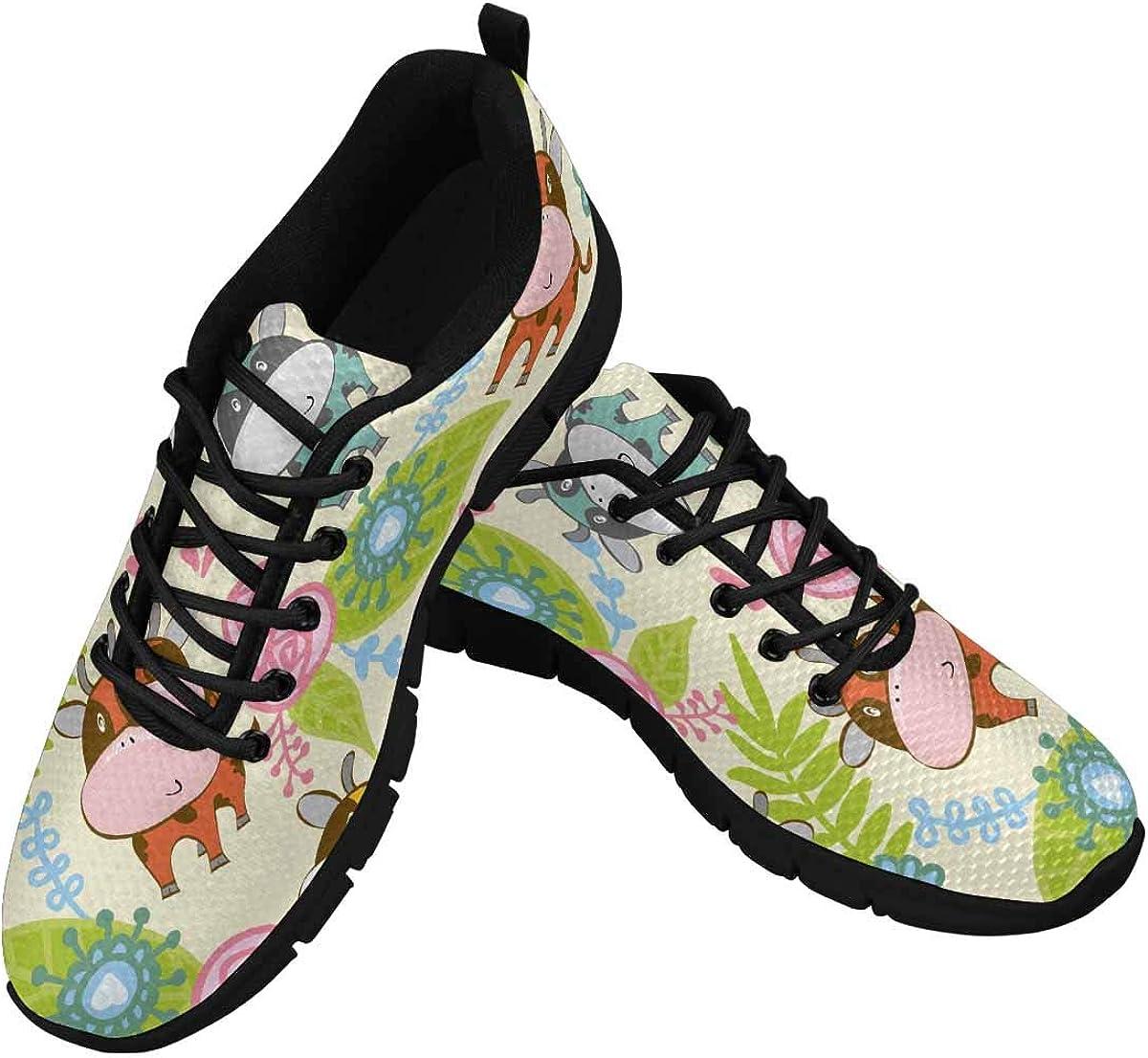 InterestPrint Cartoon Cows Leaves Women's Athletic Walking Running Sneakers Comfortable Lightweight Shoes