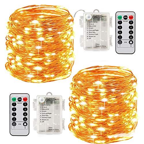 2 x10m Guirlande LED Lumineuse à Pile 100 LEDs Fonction Minuterie avec Télécommande IP65 Etanche Décoration intérieur et extérieur pour Noël Mariage Soirée Maison Jardin (Jaune)