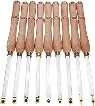 Alqn Juego de herramientas para tornos giratorios, herramienta de separación de mango de madera con llave, herramienta de acabado de torno de aleación de 9 piezas para aficionado a la madera, bricola