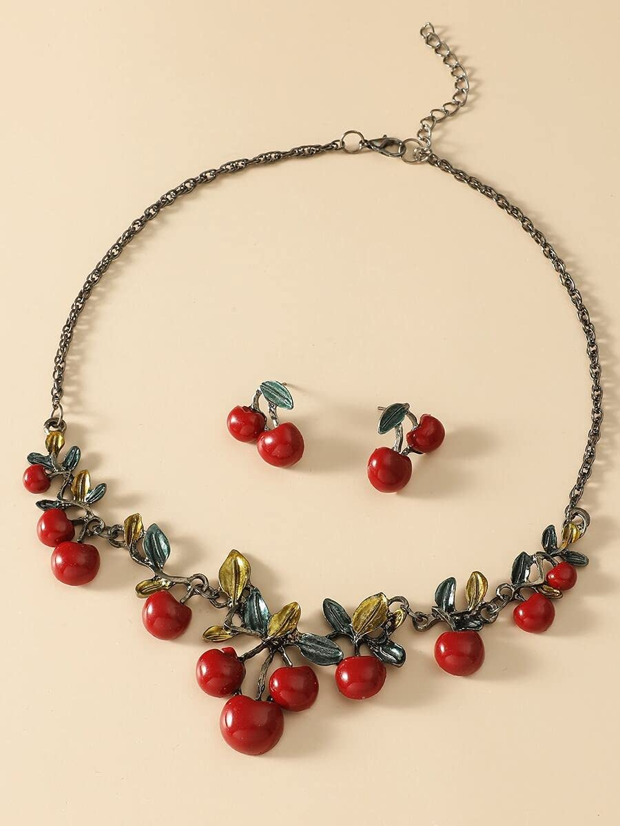 Recommended ZHAWE Women's Jewelry Set Max 68% OFF Series 3pcs Decor Cherry