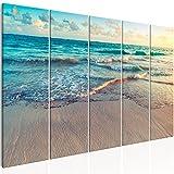 murando Quadro Spiaggia Mare 200x80 cm Stampa su Tela in TNT XXL Immagini Moderni Murale Fotografia Grafica Decorazione da Parete 5 Pezzi Paesaggio c-B-0358-b-m