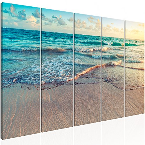 murando Akustikbild Strand Meer 225x90 cm Bilder Hochleistungsschallabsorber Schallschutz Leinwand Akustikdämmung 5 TLG Wandbild Raumakustik Schalldämmung - Landschaft c-B-0358-b-m