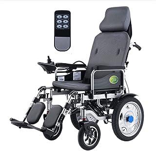 Silla de ruedas eléctrica para trabajo pesado con reposacabezas, silla eléctrica portátil plegable y liviana con control remoto, energía eléctrica o manipulación manual, respaldo y pedal ajustables