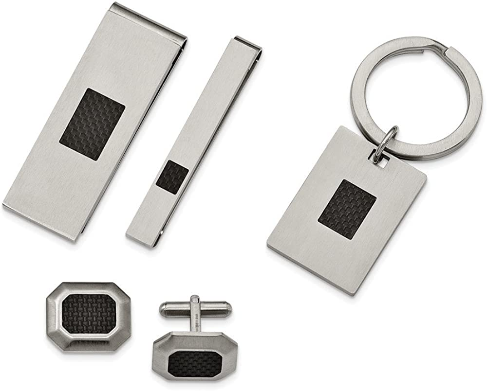 ICE CARATS Stainless Steel Brushed Black Carbon Fiber Inlay 4 Piece Boxed Set Cuff Link Collar Stay Key Ring Money Clip Lapel Pin Tie Tac Bar Fashion Jewelry for Dad Mens Gifts for Him