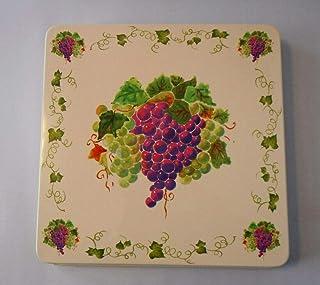 White Purple Grapes Vine Ivy GAS Stove Top SQUARE BURNER COVERS 4 Pieces