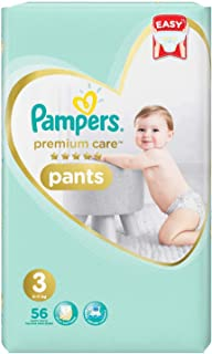 Pampers Premium Care Pants Diapers, Size 3, Midi, 6-11 kg, 56 Count