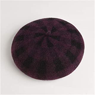 SHENTIANWEI Hat Female Autumn and Winter New Wool Plaid Beret Japanese Pumpkin hat British Retro Soft Sister Painter hat (Color : Purple)