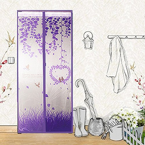 Purple Love Bird Porte d'écran magnétique Full Frame Magic Mesh Net Anti-moustique rideau, 100 * 210cm