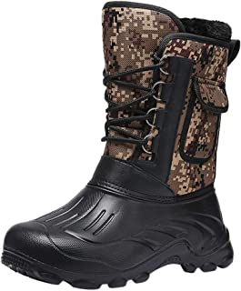 Snow Boots Mens Waterproof Warm Winter Boots Outdoor Non-Slip Comfortable Lined Ankle Lace-Up Hiking Boots