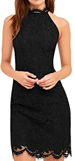Zalalus Cocktail Dress Women's Chic High Neck Prom Evening Wedding Party Guest Wear Lace Dress Black US 6