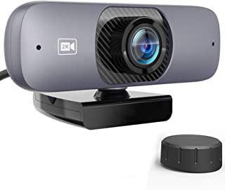 Webcam, HD 2K Autofocus computer webcam with USB 2.0 drive-free interface Plug and Play built-in microphone privacy cover ...