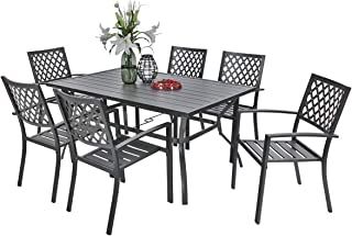 PHI VILLA Metal Outdoor Patio 60 inch Rectangular Dining Table and Chairs Set of 7- Black