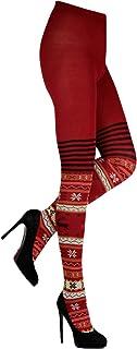 CRÖNERT Damen Strumpfhose Strickstrumpfhose Design Hirsche 72230 rot