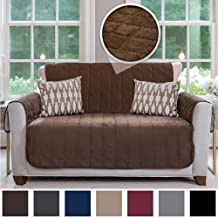 Gorilla Grip Original Velvet Slip Resistant Luxurious Loveseat Slipcover Protector, Seat Width Up to 54 Inch Patent Pending, 2 Inch Straps, Hook, Sofa Furniture Cover for Pets, Love Seat, Chocolate