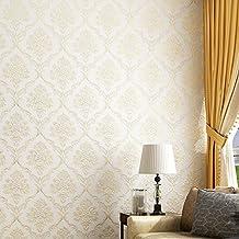 Yancen papier peint intissé _ 3d stéréo papier peint intissé papier peint Chambre à coucher de luxe européen de Damas Salon TV Fond, Ja47–05Rose clair