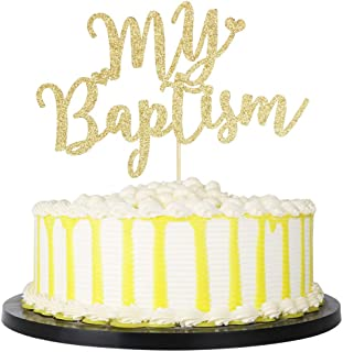 PALASASA Gold Glitter My Baptism Cake Topper - Holy First Communion Baby Shower - Christening Party Decoration Bless This Child