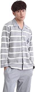 パジャマ メンズ服 綿100% 長袖 冬 ルームウェア 上下セット ボーダー 防寒 部屋着 寝間着 お風呂上がり シンプル 羽型 柔らかい手触り 春秋 無地 灰色 プレゼント