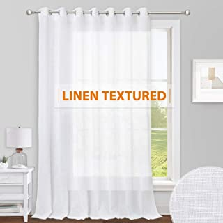 RYB HOME White Curtain Sheers - Linen Texture Large Window Curtain for Patio Sliding Glass Door Extra Wide Semi Transparent Privacy Voile Shades for Living Room Bedroom Sunroom, 100 x 95 inch