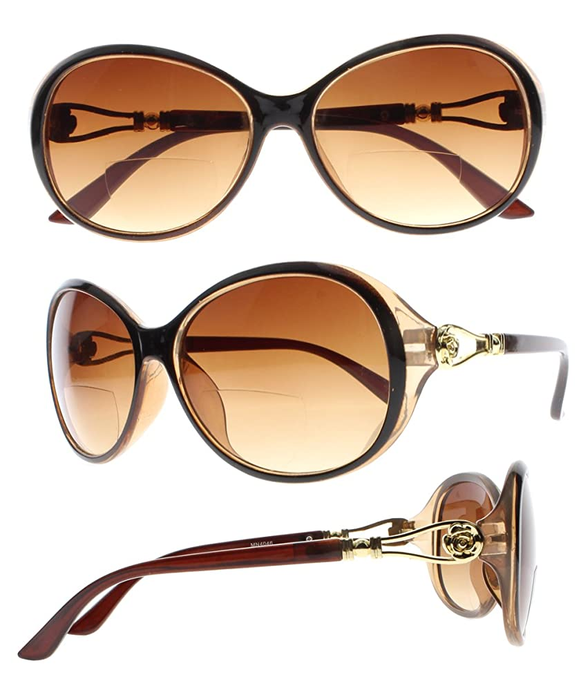 Lady Gold Metal Flower Bifocal Tinted UV400 Reading Glasses Sunglasses Readers