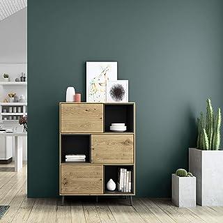 Mc Haus KUMA - Estanteria Madera Natural y Negro Librería de pared Salón Comedor Dormitorio de diseño Nórdico con 3 estan...