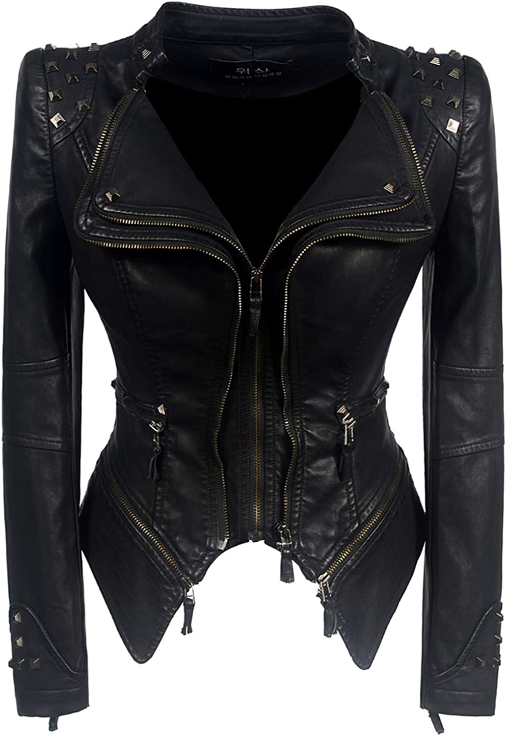 Cheryl Bull Trendy Black Motorcycle Jacket Outerwear Faux Leather PU Jacket Faux Leather Coats