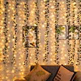MAGICNIGHT Artificial Ivy Garland with 2 Pack USB Curtain Lights,12 Strands Fake Hanging Vine Plants Green Leaves for Wedding Party Garden Wall Decoration (Warm White)