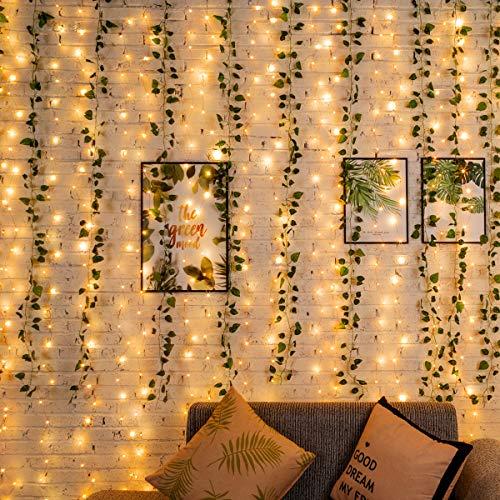Efeu Künstlich Hängend Girlande 12 Stück Efeugirlande Hochzeit für Büro, Küche, Garten, Mit Lichterkette