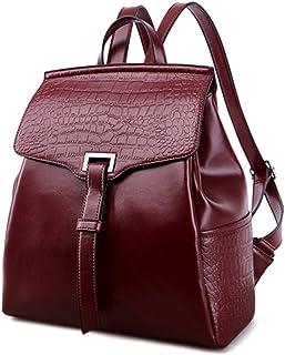 JACVAAPレディースバッグ ブラック 新しい 本革 バックパック ファッション シンプル バックパック 韓版 牛革 リュック 柔らかい肌 女子バッグ