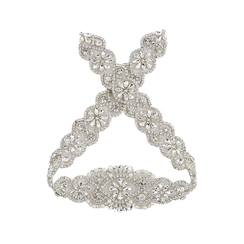 Bridal Applique Wedding Rhinestone Crystal Applique Silver Wedding Dress Garters Headpieces