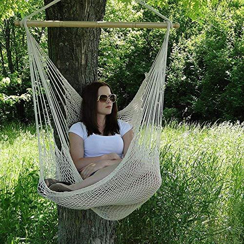 Demiawaking Stuhl für den Garten, große Hängesessel, aus Baumwolle, tragbar, für Innen- und Außenbereiche, 150 kg