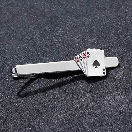 LinZX Clip de Lazo de póquer para los Clips de Groove Hombre de Negocios 4A Gemelos Conjunto de Bombas de Boda único Corbata el Hombre Vista Padres Regalos del día,Titanium Plated