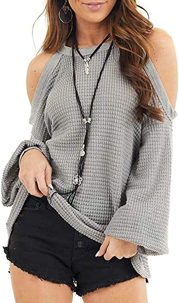 Womens Knit Cold Shoulder Sweaters Long Sleeve Crewneck Oversized Backless Jumper Tops Casual Loose Autumn Pullover