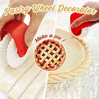Hamkaw Pastry Wheel Decorator and Cutter, Pizza Pastry Lattice Pie Crust, Pizza Kitchen Baking Tool Fluted Wheel, Dough Docker Plastic Wheel Roller for Household, Restaurant Easy to Use
