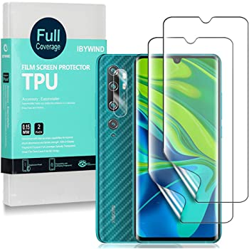 Ibywind Xiaomi Mi Note 10 / Mi Note 10 Pro専用TPU保護フィルム2枚入り カメラレンズプロテクター付き 背面保護フィルム付き 指紋認証対応 気泡な