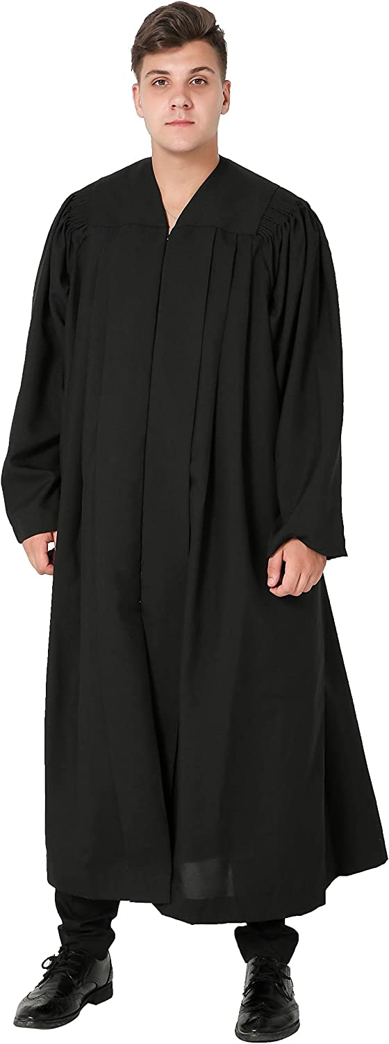 IvyRobes Unisex Plymouth Clergy Robe Judge Robe Pulpit Robe Black