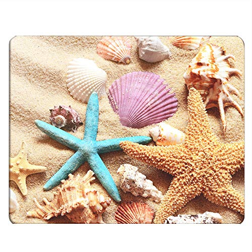 Nicokee Seashell Gaming Mousepad Colorful Seashell Starfish On Beach Mouse Pad Mouse Mat for Computer Desk Laptop Office 9.5 X 7.9 Inch Non-Slip Rubber