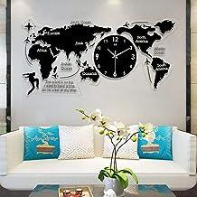 ساعات حائط لغرفة المعيشة الحديثة، ساعات حائط صامتة ثلاثية الأبعاد خريطة العالم ساعة حائط بتصميم عصري ملصقات ثلاثية الأبعاد...
