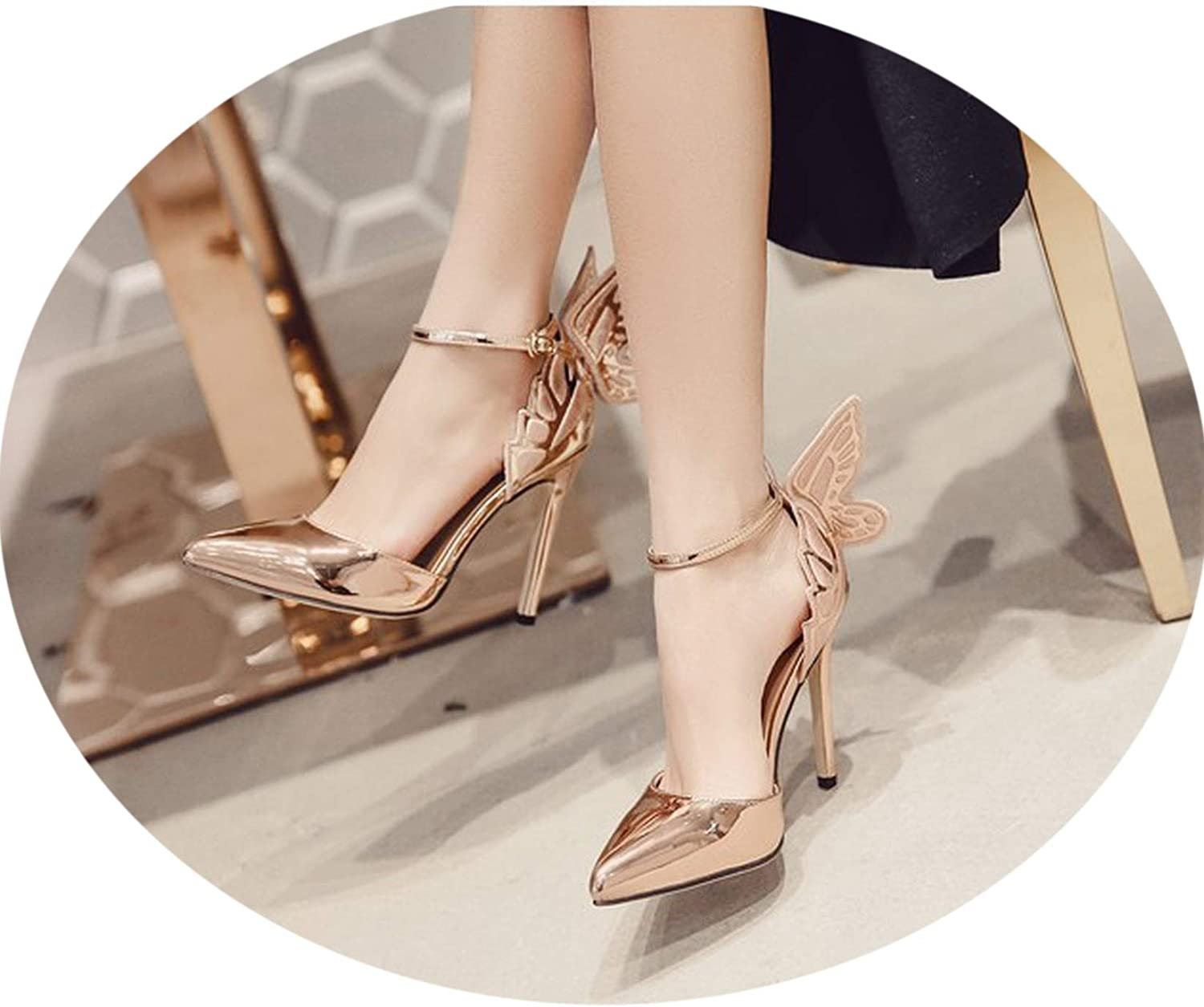 Pointed Toe Pumps Wing 3D Butterfly Embroidery High Heel Ankle Strap Soes Metallic Stiletto shoes