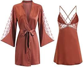 Dames Badjas Dames Satijnen Kimono Badjas Japon Intieme Lingerie Zijdeachtige 2-Delige Nachthemd Kanten Nachtkleding
