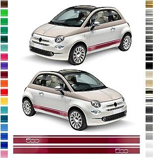 Auto Dress® Seiten Streifen Aufkleber Set/Dekor passend für FIAT 500 in Wunschfarbe (Farbwunsch)