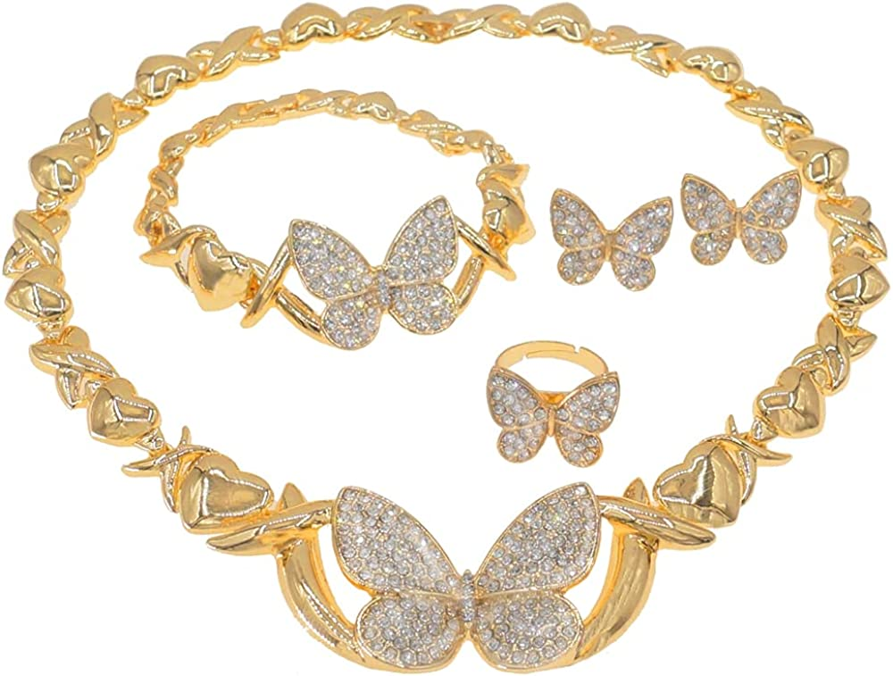 Women's Hugs Kisses XOXO outlet Real Gold Nec Long-awaited 4 Plated Layered Pieces
